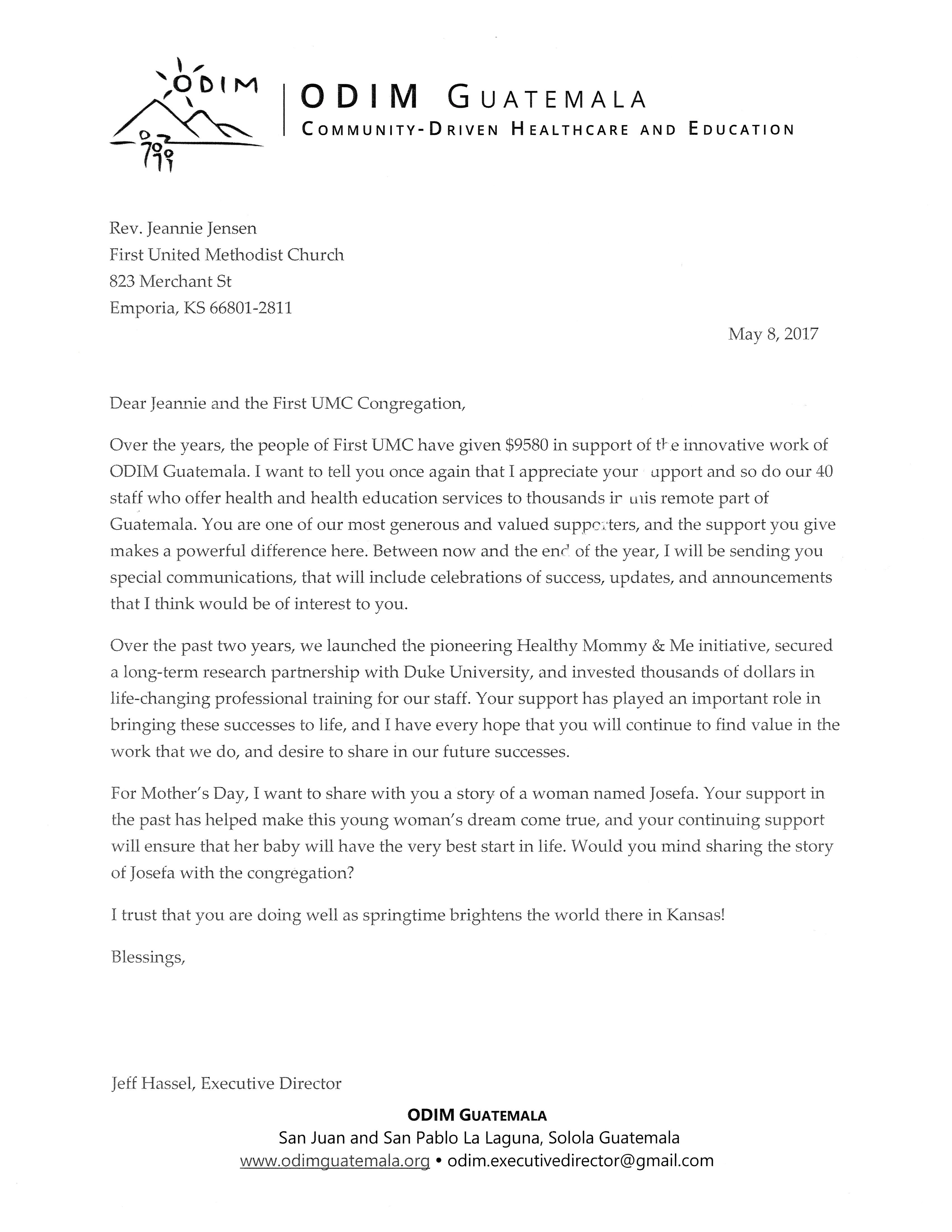 Thank You Letter From Odim First United Methodist Church